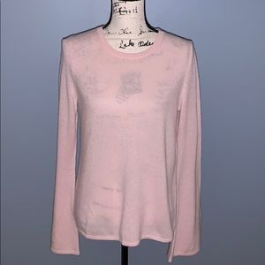 ONLY MINE100% cashmere light pink Med bell sleeve